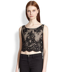 Alice + Olivia Sleeveless Cropped Lace Top