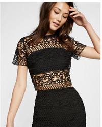 Express Trellis Lace Short Sleeve Cropped Top
