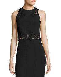 Rebecca Taylor Piqu Lace Trim Crop Top Black