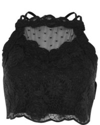 River Island Black Lace Mesh Crop Top