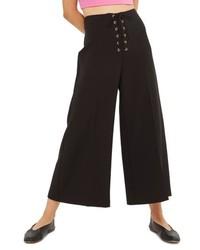 Topshop Lace Up Wide Leg Crop Pants