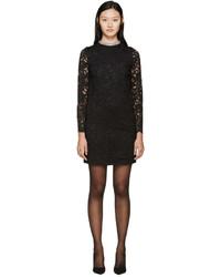 Saint Laurent Black Lace Beaded Collar Dress