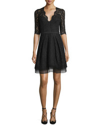 Carolina Herrera Half Sleeve V Neck Lace Cocktail Dress Black