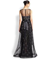 Teri Jon By Rickie Freeman Beaded Overlay Lace Gown