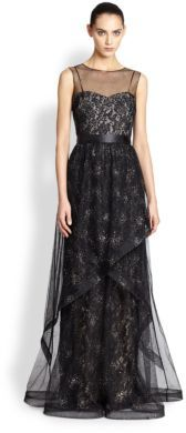 Teri Jon By Rickie Freeman Beaded Overlay Lace Gown | Where to buy ...