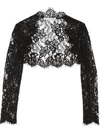Oscar de la Renta Cropped Cotton Blend Corded Lace Jacket Black