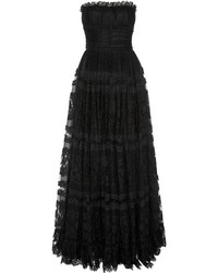 Dolce & Gabbana Lace And Point Desprit Gown Black