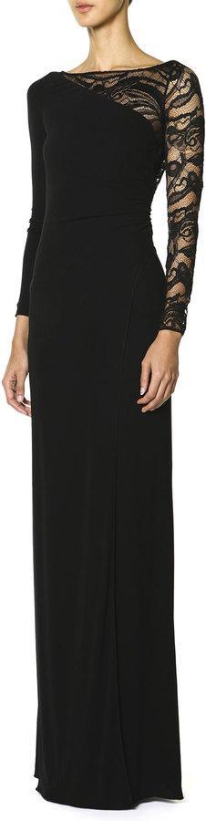 emilio pucci long sleeve asymmetric lace yoke gown nero