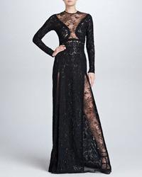 Elie Saab Long Sleeve Lace Gown Black