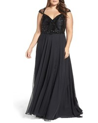 Mac Duggal Plus Size Beaded Lace Bodice Gown