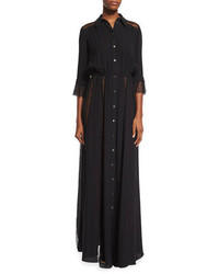 Michael Kors Michl Kors Lace Inset Button Front Gown Black