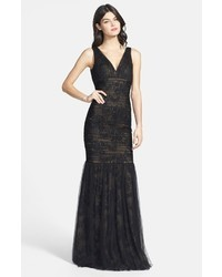 Monique Lhuillier Ml Bridesmaids Shirred Tulle Overlay Lace Trumpet Dress