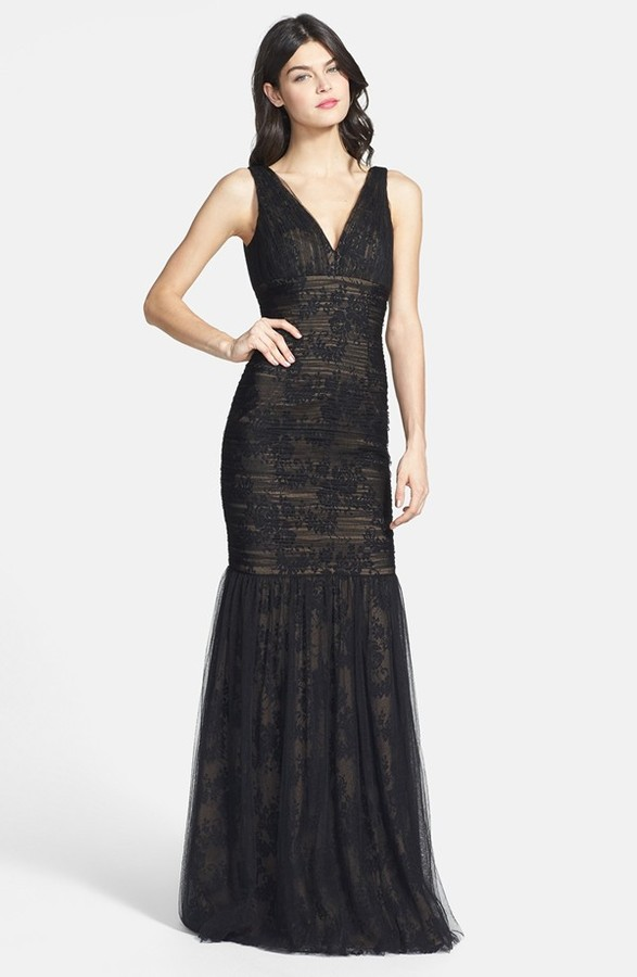 Monique Lhuillier Ml Bridesmaids Shirred Tulle Overlay Lace Trumpet ...