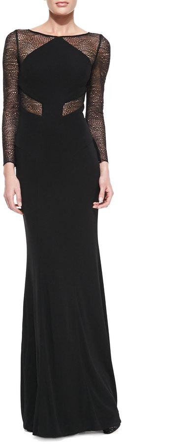 4c3ff3a6ea1 ... Monique Lhuillier Ml Long Sleeve Lace Insert Gown ...