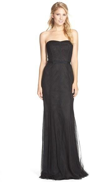 298 Monique Lhuillier Bridesmaids Strapless Lace Tulle Gown