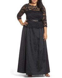 Adrianna Papell Plus Size Nouveau Scroll Illusion Lace Gown
