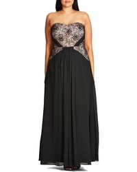 City Chic Plus Size Sofia Lace Bodice Strapless Gown