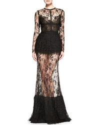 Elie Saab Sheer Skirt Lace Long Sleeve Gown