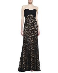 Tadashi Shoji Strapless Lace Gown Blacknude