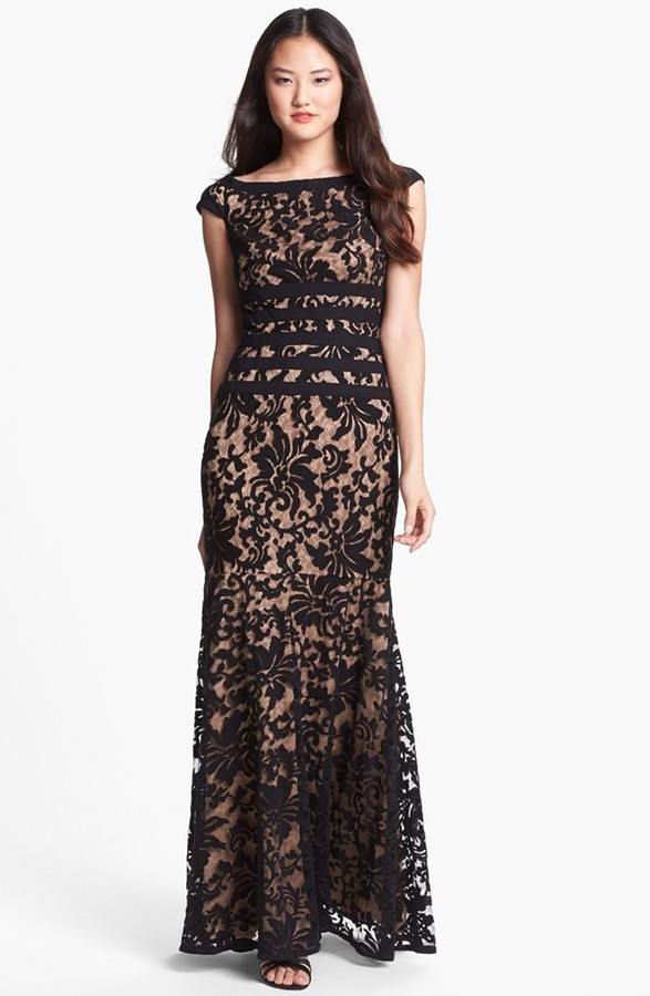 Tadashi Shoji Textured Lace Mermaid Gown | Where to buy & how to wear