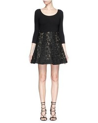 Alice + Olivia Amie Floral Lace Skirt Stretch Dress