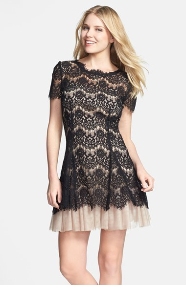 Betsy & Adam Betsy & Adam Short Sleeve Lace Fit & Flare Dress ...