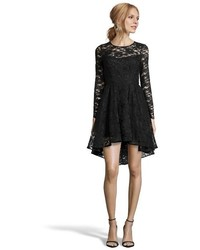 Wyatt Black Artisanal Lace Long Sleeve Cocktail Dress