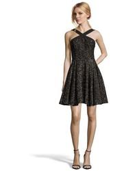Wyatt Black Metallic Lace Cross Front Cocktail Dress