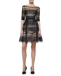 Carolina Herrera Half Sleeve Metallic Lace Fit Flare Dress Blackpurple