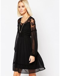 Vero Moda Lace And Sheer Dress With Tie Sleeves
