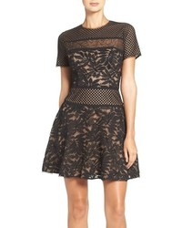 BCBGMAXAZRIA Lace Knit Fit Flare Dress