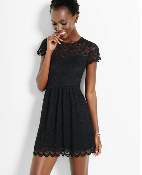 Express Lace Short Sleeve Fit Flare Dress 79 Express Lookastic