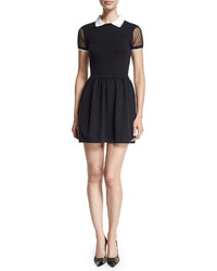 RED Valentino Lace Sleeve Fit  Flare Dress Black