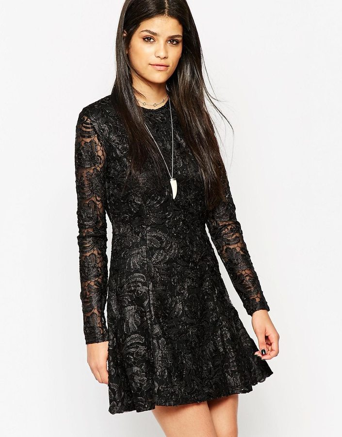 154 Rock Religion Long Sleeve Lace Skater Dress With High Neck