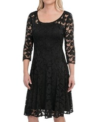 Chetta B Magic Waist Stretch Lace Dress 34 Sleeve
