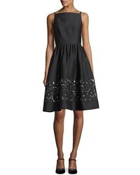 Kate Spade New York Lace Panel Bateau Neck Sleeveless Fit And Flare Dress