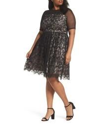 Plus size illusion lace fit flare dress medium 5170690