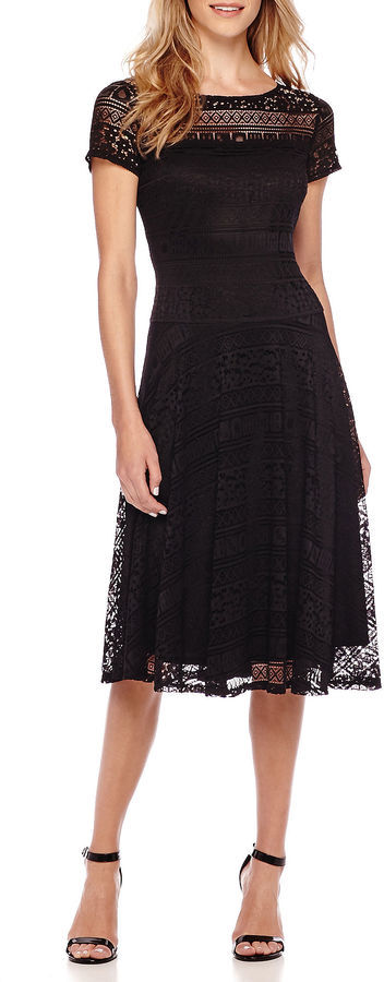 Signature By Sangria Sangria Short Sleeve Lace Midi Fit And Flare