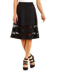 Charlotte Russe Lace Trim Full Midi Skirt