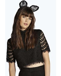 Boohoo Ellie Lace Cat Ear Headband