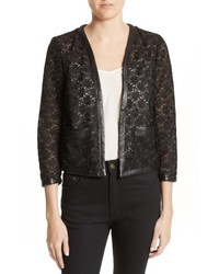 Faux leather trim lace jacket medium 5255712