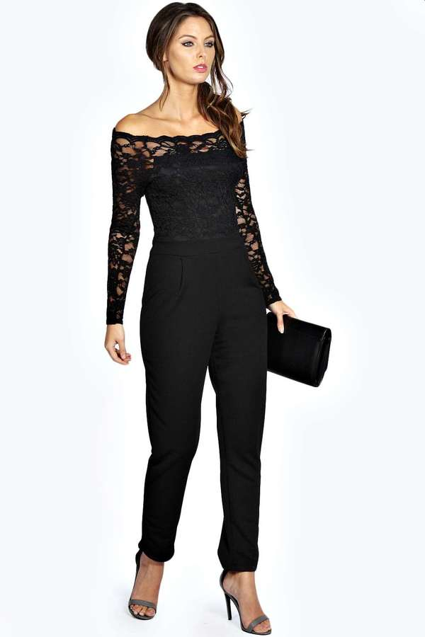 813b84f68c Boohoo Emily Scallop Lace Off The Shoulder Jumpsuit