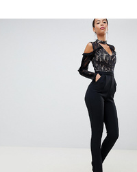 True Decadence Tall Cold Shoulder Lace Top Jumpsuit With Ruffle Sleeves