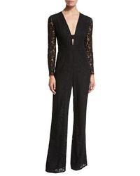 Diane von Furstenberg Kyara Long Sleeve Lace Jumpsuit Black