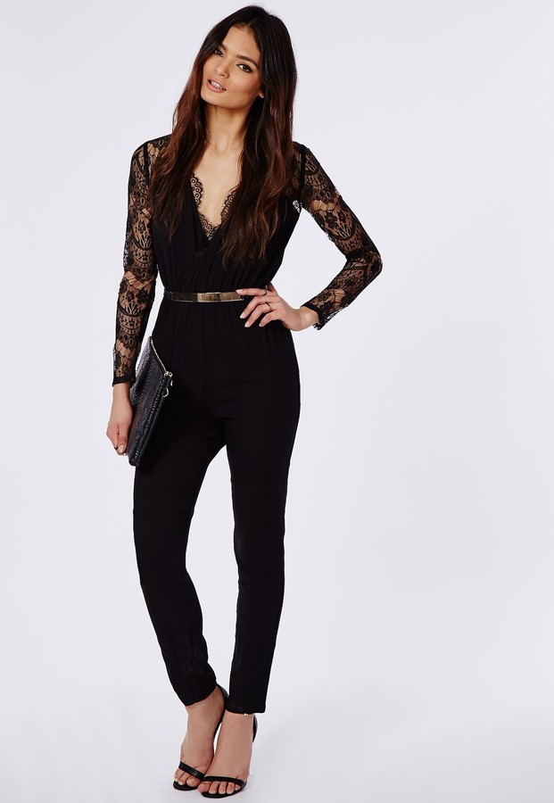 c38db86b1a3 ... Missguided Lace Sleeve Jumpsuit Black ...
