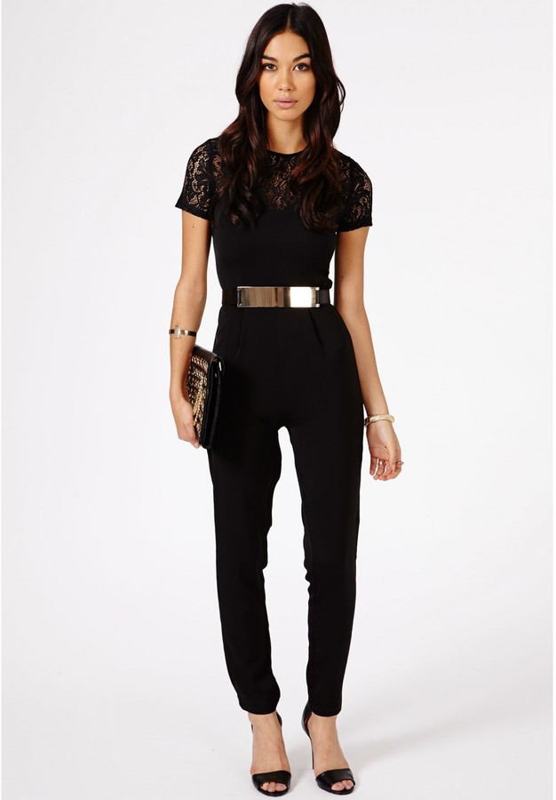 db9a9c89c413cf Missguided Roksana Belted Lace Detail Jumpsuit In Black, $69 ...