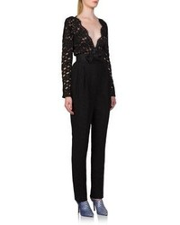 Lanvin Mixed Media Lace Bow Jumpsuit