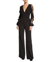 Elie Saab Ruffled Lace Sleeve Crepe Jumpsuit Black