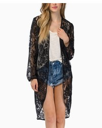 ChicNova Transparent Long Sleeves Lace Kimono