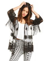 Dailylook Fringe Frenzy Kimono In Black S L